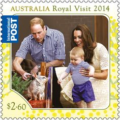 anythingandeverythingroyals: The Australian Post has celebrated the recent visit by the Cambridge Family with two postage stamps-here the Duke and Duchess of Cambridge with Prince Goerge at the Taronga Zoo