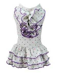 Dog Clothes,Lillypet Cute Polka Dot Dog Dress Dog Clothes Cozy Dog Shirt Pet Dress (S, White) ** You can find out more details at the link of the image.