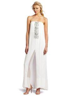 BCBGMAXAZRIA Women's Exene Strapless Center Beaded Dress, White, 4, georgeus!  $298.00