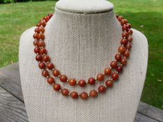 Autumn Colors Pumpkin Stone and GOld Bead by OpenRoadsVintage, $35.00