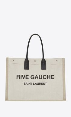 4ac266d67971 Rive gauche tote bag in linen and leather