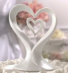 Porcelain Double Heart Wedding Cake Topper plus more heart cake toppers perfect for a wedding or bridal shower. Heart Cake Toppers may also be used as a centerpiece and makes a lasting wedding keepsake. Contemporary Wedding Cakes, Heart Wedding Cakes, Wedding Wishes, Wedding Gifts, Heart Envelope, Wedding Toasts, Celtic Wedding, Elegant Cakes, Wedding Themes