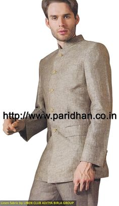 Decent engagement linen suit made in light green color pure linen fabric. It has bottom as trouser made in same color fabric. Dryclean only.