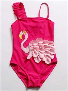 One Piece Bikini, One Piece Suit, Mermaid Swimsuit, Swimsuits, Bikinis, Children's Swimwear, Swim Dress, Bikini Photos, Pink Flamingos