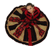 Elf Coat, Upcycled, Recycled, Sweater Coat, Red, Black and Gold, FREE SHIPPING