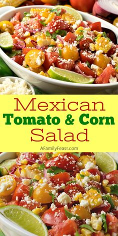 Best Tomato Recipes This Mexican Tomato and Corn Salad is loaded with fresh summer flavors, salty cheese and the best sweet and spicy citrus dressing. Healthy Side Dishes, Side Dish Recipes, Pasta Recipes, Salad Recipes, Dinner Recipes, Healthy Recipes, Corn Recipes, Yummy Recipes, Healthy Sides