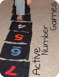 This active number line will support mathematical thinking in a #Creative_Curriculum for #Preschool classroom, especially in the area of number concepts (counting & connecting a numerical symbol to the spoken number.