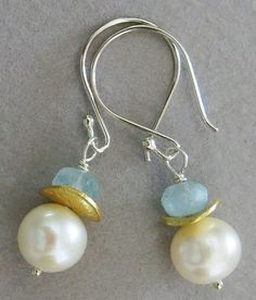 Handmade pearl and aquamarine earrings,Large, lusterous freshwater pearls, aquamarine rondelles, gold filled wavy discs, sterling silver ear wires