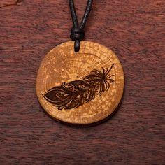 Feder - Ketten Holzschmuck aus Naturholz / Anhänger Vegan, Washer Necklace, Jewelry, Wood, Chains, Crafts, Ear Piercings, Handmade, Wristlets