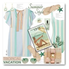 """""""Welcome to Paradise: Tropical Vacation"""" by jelenalazarevicpo ❤ liked on Polyvore featuring MANGO, Yosi Samra, Clinique, Mark Cross, Gucci and Effy Jewelry"""