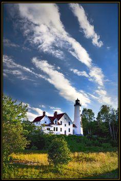 Point Iroquois Lighthouse on Lake Superior, Upper Peninsula, Michigan