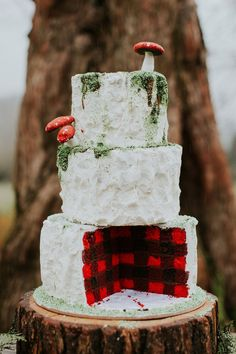 """Wedding Food Plaid Lumberjack Wedding Cake - """"Rustic"""" has been a popular theme among weddings for some time now and it looks like there's a new kid in town. The lumberjack theme is popping up everywhere from birthdays and baby showers to Lumberjack Wedding, Flannel Wedding, Lumberjack Cake, Plaid Wedding Dress, Wedding Dresses, Wedding Cake Decorations, Wedding Cake Designs, Wedding Cake Toppers, Wedding Ideas"""