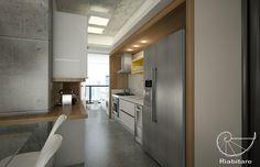 APARTAMENTO MAX HAUS   Riabitare Flat Design, Industrial Design, Kitchen Cabinets, Loft, Interior Design, House Styles, Home Decor, Decorating, Kitchen Small