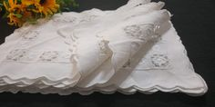 Vintage Handmade Linen Dining Small Placemats, Full set of 12, Pure White White Placemats, Pure White, Full Set, Doilies, Colours, Pure Products, Dining, Pattern, Cotton