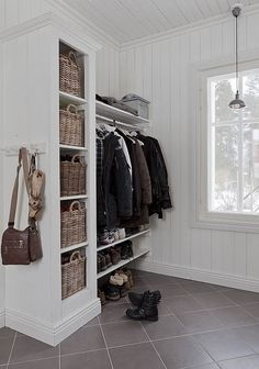 .Replace shoe cubby and add Billy bookcase, narrower shelf/cabinet for shoes and coats/bags above
