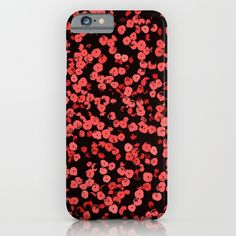 Cyber Monday Starts Now - 20% Off + Free Shipping on Everything! Red and pink on black, asymetric dots, sequins pattern iPhone & iPod Case