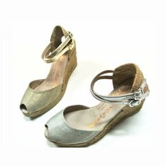 Metallic and Jute perfect combination for this #summer   available at www.spanishoponline.com   GAIMO SS15 Grisa Linen Mid Wedge Peep Toe Espadrilles   Spanish Fashion - SPANISH SHOP ONLINE   Spain @ your fingertips #shoes