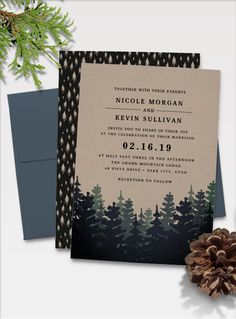 :: winter forest :: elegant rustic wedding invitations for fall or winter weddings in outdoor, mountain, forest or lakeside settings, printed on brown kraft paper with pine tree silhouettes and off-black lettering. by @redwoodandvine exclusively for @zazzle
