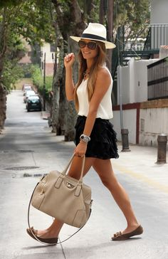 white hat sunglasses beige handbag black skirt white top summer casual fashion women outfit clothing style apparel