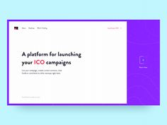 Hello everyone!  Landing Page Concept | Launch your ICO  Animation by @Aleksey Vasiliev