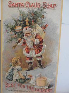 Great Advertising Piece - N.K. Fairbank Co. Santa Claus Soap Repro Tin Sign #SantaClausSoap