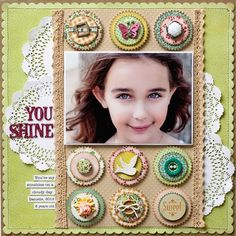 """""""You Shine"""" scrapbook layout by Stacy Cohen for Creating Keepsakes magazine. #scrapbook #scrapbooking"""