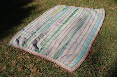 NINA extra heavy KANTHA PICNIC rug / twin bohemian bedding