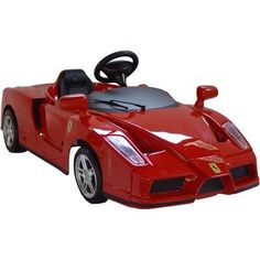 Enzo Ferrari 12V Car in Red by Big Toys. $599.00. TT-676204 Features: -Fabulous sports car.-Bring an extraordinary, opulent and exclusive beauty.-Made in Italy under license from Mercedes and designed in conjunction with their engineers.-All the authentic real car badges and stickers.-Realistic alloy-like wheels.-Rubber tires.-Horn on steering wheel.-Forward, reverse and neutral gears.-Electronic accelerator - the car will stop when your foot is off the accelerator.-Tough poly...