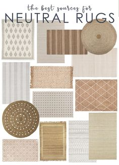 Neutral Rug Picks & My Favorite Sources for Affordable Rugs - Best Rugs - Ideas of Best Rugs - A collection of the best neutral rugs that are affordable and timeless. Also includes a list of the best sources and online rug stores. Affordable Rugs, Affordable Home Decor, Affordable Furniture, Unique Home Decor, Diy Home Decor, Farmhouse Rugs, Country Farmhouse Decor, French Country Decorating, San Jose Del Cabo
