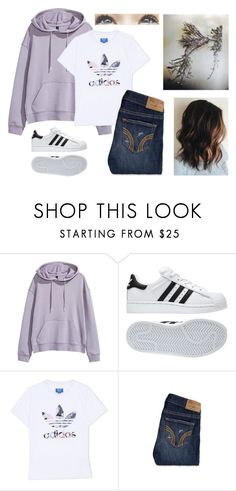 """""""paper 3D art project"""" by julia-grace-dressed-in-lace ❤ liked on Polyvore featuring H&M, adidas, adidas Originals, Hollister Co. and Brinley Co"""