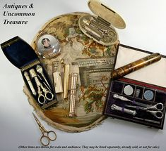 Antique sewing tools sets, mostly French and 18k gold. Silk embroidery is dated 1782 and is a mourning tapestry from England.