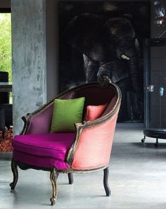 Seating Area with mixed colour fabrics