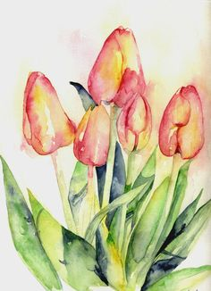 Tiptoe Thru the Tulips is an original watercolor Size: 9 x 12 inches Comes with a certificate of authenticity Painting is signed but photo was