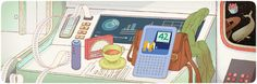 Google Doodle celebrating what would have been Douglas Adams' 61st birthday on 11 March 2013