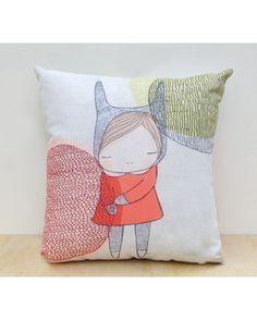 "16 x 16"" Cushion For Little Girls Room - Bunny Girl With Circles Cushion | Nomuu"