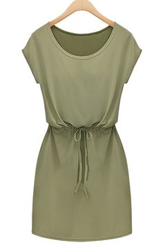 Fashionable Scoop Neck Short Sleeve Solid Color Drawstring Dress For Women