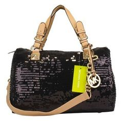 Price:$79.06 Michael Kors Glitter Large Black Satchels www.michaelkorspr...