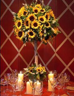 Sunflower topiary by Preston Bailey. Wedding Reception Tables & Venue