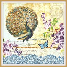 2 PAPER NAPKINS for DECOUPAGE - Peacock Flowers Butterfly #012 by VintageNapkins on Etsy