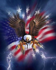 American Flag Wallpaper, Eagle Wallpaper, Eagle Images, Eagle Pictures, Art Fantaisiste, 3d Art, I Love America, Fine Art America, Aigle Animal