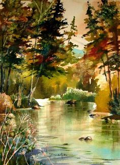 watercolor landscape paintings tree - Google Search