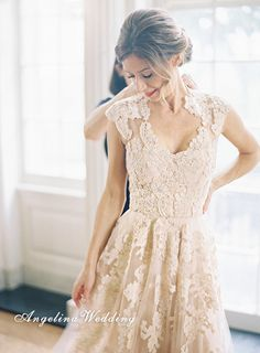 Lace Wedding Dress/Sleeveless Wedding Dress/ by AngelinaWedding, $219.00