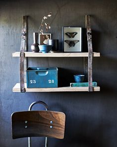 Wooden planks with leather straps -DIY