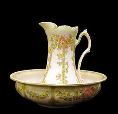 A Beautiful Bowl & Pitcher In A Vintage Lady's Boudoir