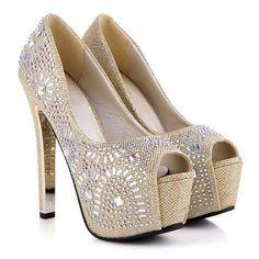 Georgous peep toed shoes with Rhinestones Toe Shoes, Shoe Boots, Designer Heels, Gorgeous Women, Stiletto Heels, Peep Toe, Wedges, Fashion, Moda