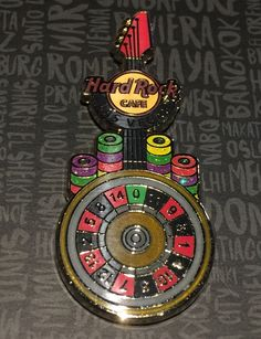 Hard Rock Cafe Las Vegas Roulette Wheel Guitar Pin.