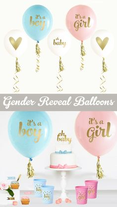 Gender Reveal Party Ideas - Baby Gender Reveal Decorations - Gender Reveal Banner using BALLOONS (EB3110BBY) -SET of 3 Balloons by ModParty on Etsy https://www.etsy.com/listing/216976615/gender-reveal-party-ideas-baby-gender