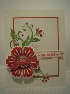 pretty handmade card ... Flowering Flourishes  ... clean lines ... like the knotted ribbon on the flower ... Stampin' Up!