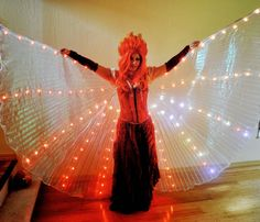 My latest project is officially finished! I made my first set of LED Isis Wings and they are, of course, my new favorite thing ever. Led Costume, Costume Ideas, Diy Cape, Smart Textiles, Diy Wings, Led Fairy Lights, Flow Arts, Victorian Costume, Led Diy