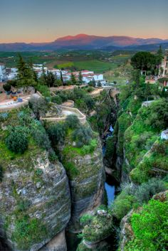 Ronda, Spain. The town built around a breath-taking gorge, and home to the oldest bull fighting arena in Spain.